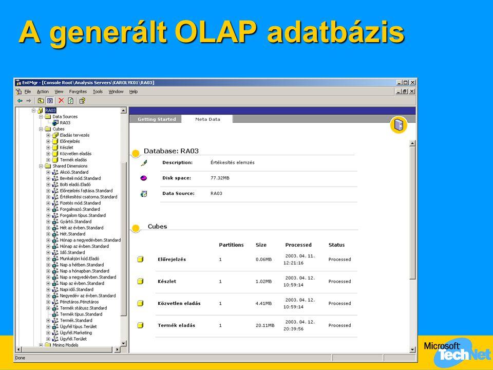 A generált OLAP adatbázis