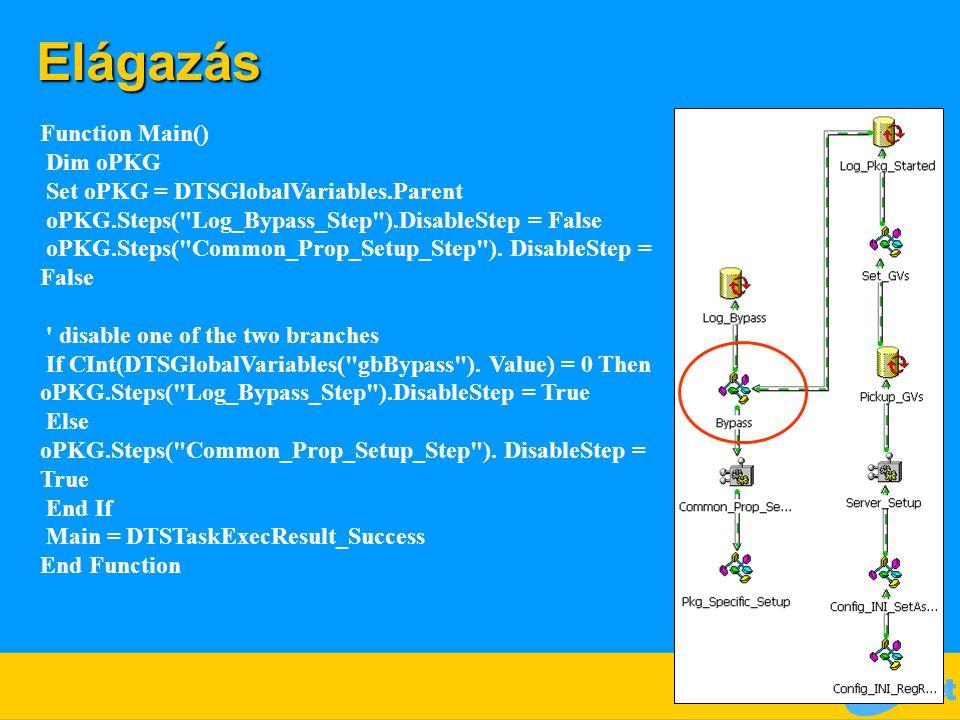 Elágazás Function Main() Dim oPKG Set oPKG = DTSGlobalVariables.Parent oPKG.Steps( Log_Bypass_Step ).DisableStep = False oPKG.Steps( Common_Prop_Setup_Step ).
