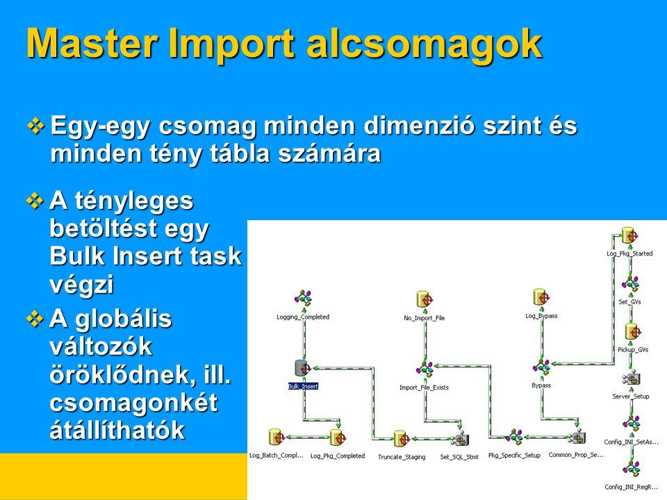 Master Import alcsomagok  Egy-egy csomag minden dimenzió szint és minden tény tábla számára  A tényleges betöltést egy Bulk Insert task végzi  A globális változók öröklődnek, ill.