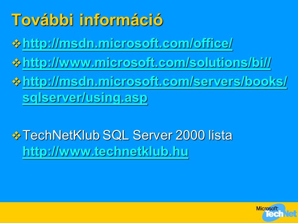 További információ  http://msdn.microsoft.com/office/ http://msdn.microsoft.com/office/  http://www.microsoft.com/solutions/bi// http://www.microsoft.com/solutions/bi// http://www.microsoft.com/solutions/bi//  http://msdn.microsoft.com/servers/books/ sqlserver/using.asp http://msdn.microsoft.com/servers/books/ sqlserver/using.asp http://msdn.microsoft.com/servers/books/ sqlserver/using.asp  TechNetKlub SQL Server 2000 lista http://www.technetklub.hu http://www.technetklub.hu