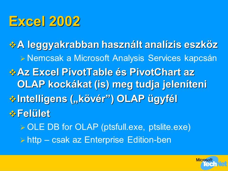 """Excel 2002  A leggyakrabban használt analízis eszköz  Nemcsak a Microsoft Analysis Services kapcsán  Az Excel PivotTable és PivotChart az OLAP kockákat (is) meg tudja jeleníteni  Intelligens (""""kövér ) OLAP ügyfél  Felület  OLE DB for OLAP (ptsfull.exe, ptslite.exe)  http – csak az Enterprise Edition-ben"""