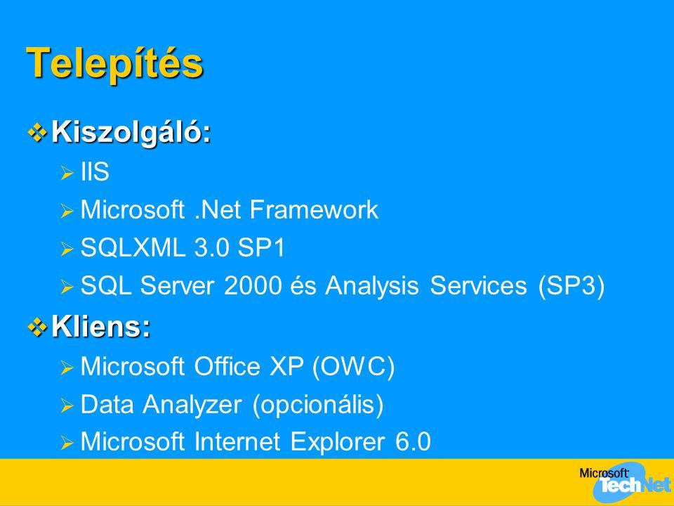 Telepítés  Kiszolgáló:  IIS  Microsoft.Net Framework  SQLXML 3.0 SP1  SQL Server 2000 és Analysis Services (SP3)  Kliens:  Microsoft Office XP (OWC)  Data Analyzer (opcionális)  Microsoft Internet Explorer 6.0