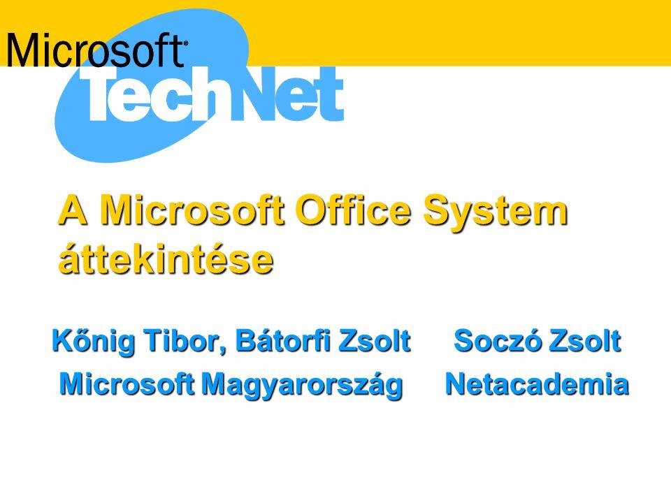A Microsoft Office System áttekintése Kőnig Tibor, Bátorfi ZsoltSoczó Zsolt Microsoft MagyarországNetacademia Microsoft MagyarországNetacademia