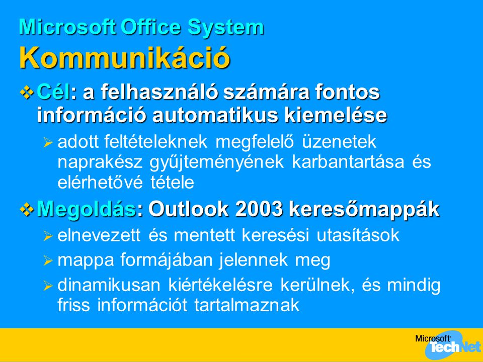 Microsoft Office System Kommunikáció  Cél: a felhasználó számára fontos információ automatikus kiemelése  adott feltételeknek megfelelő üzenetek nap
