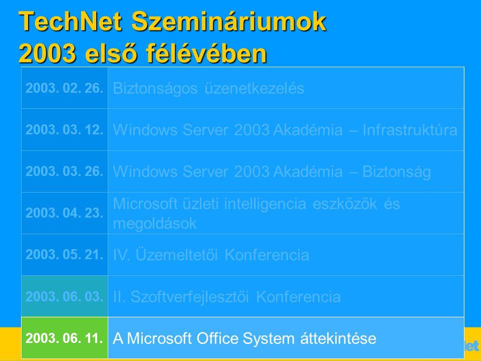 TechNet Szemináriumok 2003 első félévében Biztonságos üzenetkezelés 2003. 02. 26. Windows Server 2003 Akadémia – Infrastruktúra 2003. 03. 12. Windows