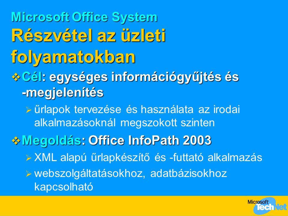 Microsoft Office System Részvétel az üzleti folyamatokban  Cél: egységes információgyűjtés és -megjelenítés  űrlapok tervezése és használata az irod