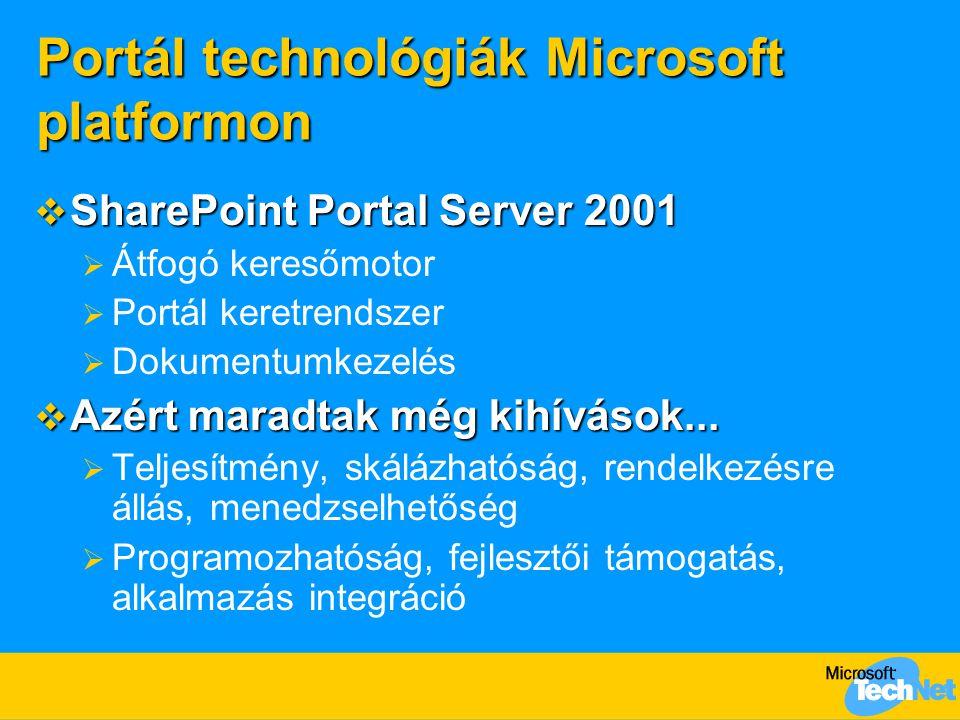 Portál technológiák Microsoft platformon  SharePoint Portal Server 2001  Átfogó keresőmotor  Portál keretrendszer  Dokumentumkezelés  Azért marad