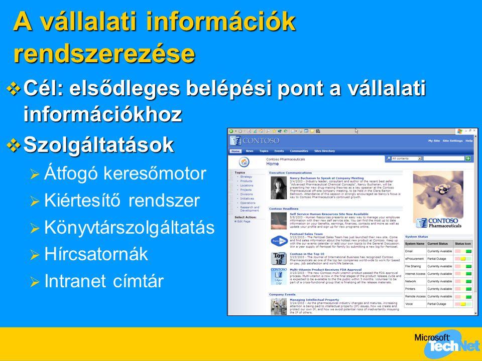A vállalati információk rendszerezése  Cél: elsődleges belépési pont a vállalati információkhoz  Szolgáltatások  Átfogó keresőmotor  Kiértesítő re
