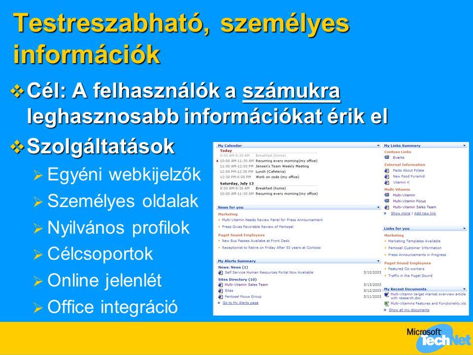 Testreszabható, személyes információk  Cél: A felhasználók a számukra leghasznosabb információkat érik el  Szolgáltatások  Egyéni webkijelzők  Sze