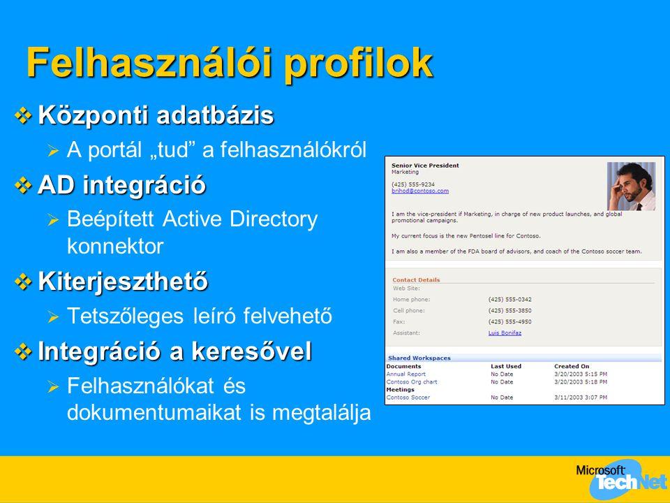 """Felhasználói profilok  Központi adatbázis  A portál """"tud"""" a felhasználókról  AD integráció  Beépített Active Directory konnektor  Kiterjeszthető"""
