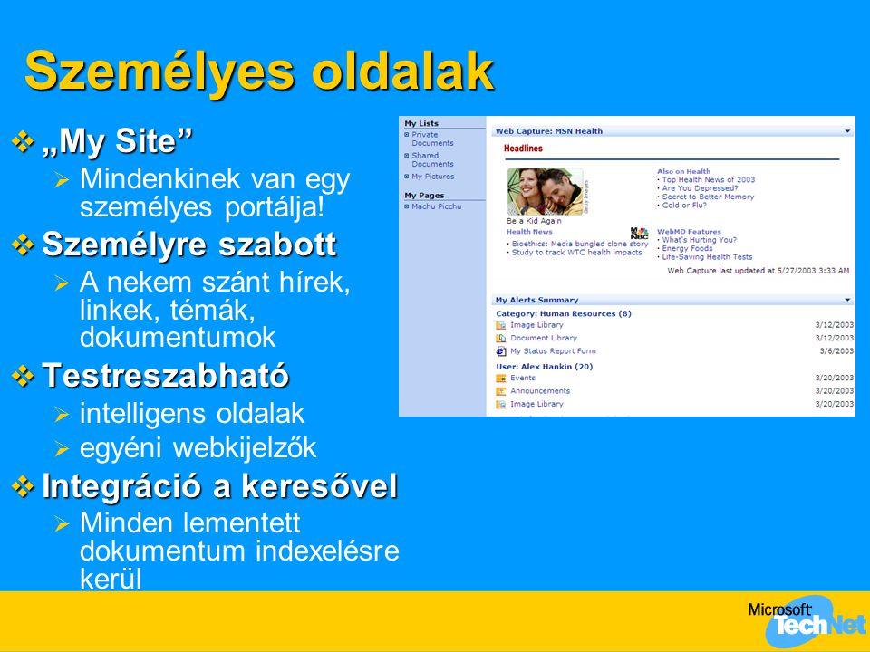 """Személyes oldalak  """"My Site""""  Mindenkinek van egy személyes portálja!  Személyre szabott  A nekem szánt hírek, linkek, témák, dokumentumok  Testr"""