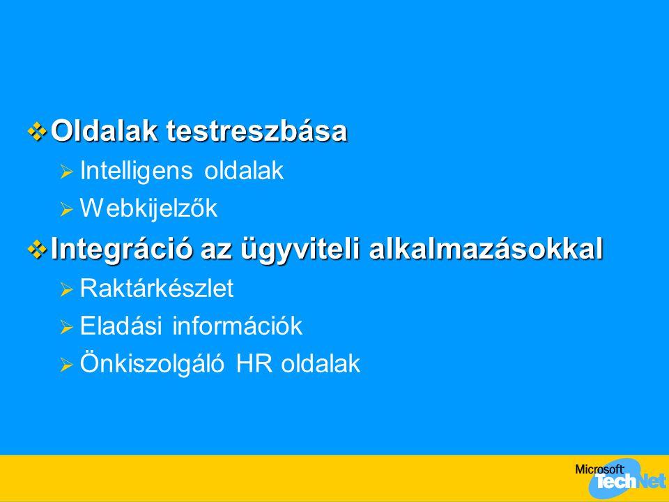  Oldalak testreszbása  Intelligens oldalak  Webkijelzők  Integráció az ügyviteli alkalmazásokkal  Raktárkészlet  Eladási információk  Önkiszolg