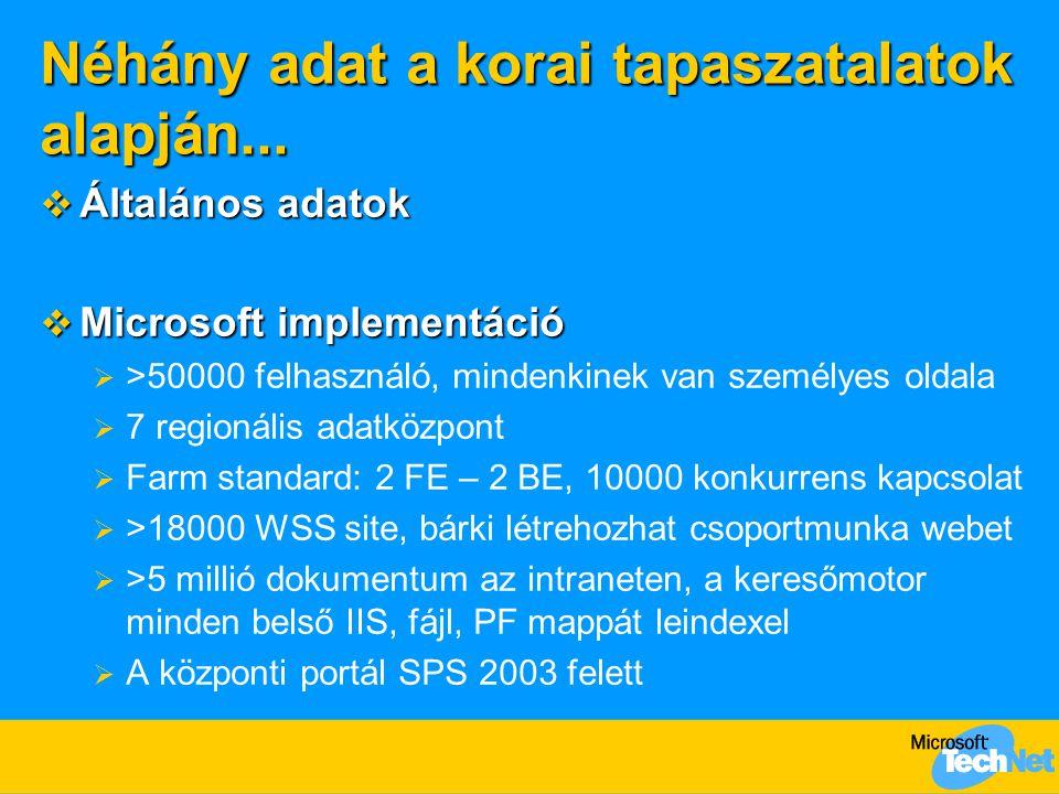 Néhány adat a korai tapaszatalatok alapján...  Általános adatok  Microsoft implementáció  >50000 felhasználó, mindenkinek van személyes oldala  7