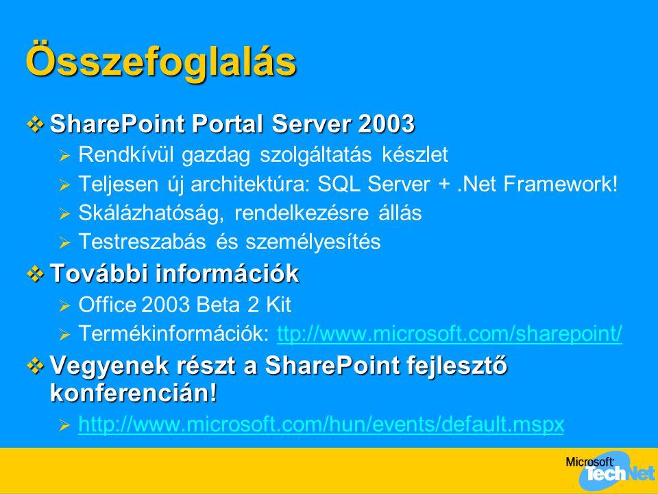 Összefoglalás  SharePoint Portal Server 2003  Rendkívül gazdag szolgáltatás készlet  Teljesen új architektúra: SQL Server +.Net Framework!  Skáláz