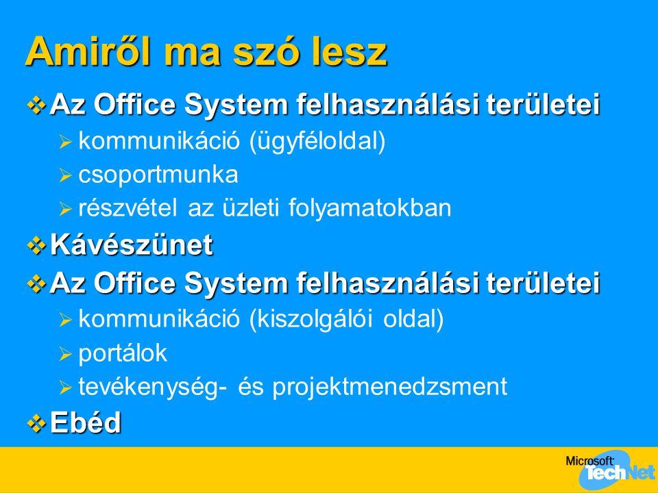 Microsoft Office System Kommunikáció  Cél: hatékony kommunikációs környezet  könnyen kezelhető, jól áttekinthető, intelligens (az információ előzetes feldolgozásában, szervezésében, a lényeg kiemelésében segítő) levelező ügyfél  Megoldás: az új Outlook 2003  minden egy képernyőn: mappák, nézetek, üzenetek, műveletek  könnyen átrendezhető, jelölhető üzenetlista  sokkal jobban olvasható betekintő ablak