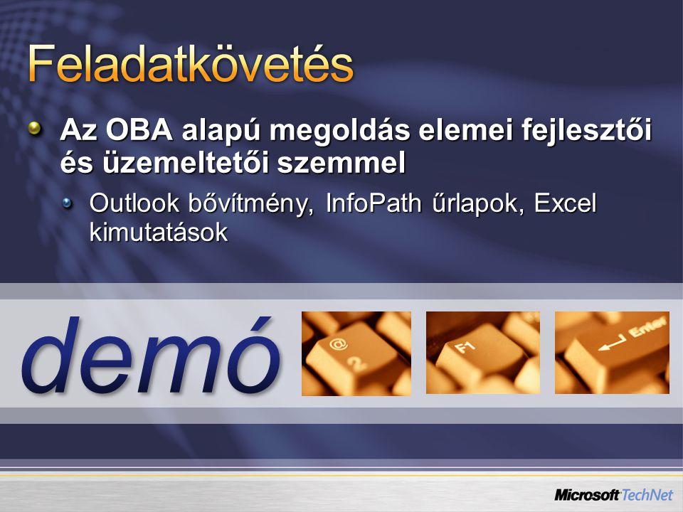 Az OBA alapú megoldás elemei fejlesztői és üzemeltetői szemmel Outlook bővítmény, InfoPath űrlapok, Excel kimutatások