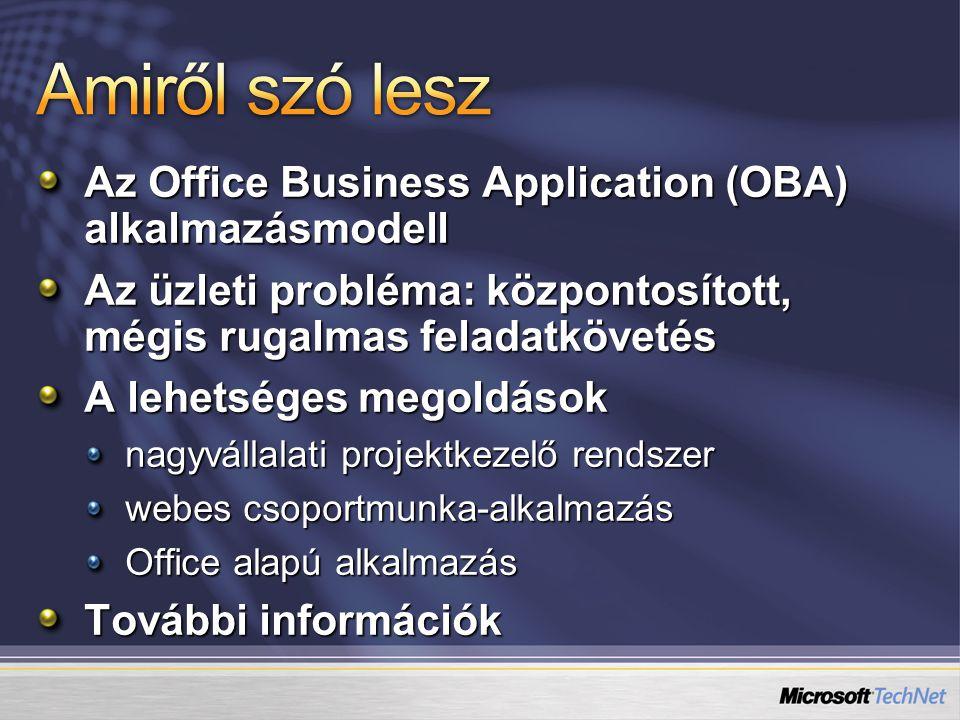 Az Office Business Application (OBA) alkalmazásmodell Az üzleti probléma: központosított, mégis rugalmas feladatkövetés A lehetséges megoldások nagyvá