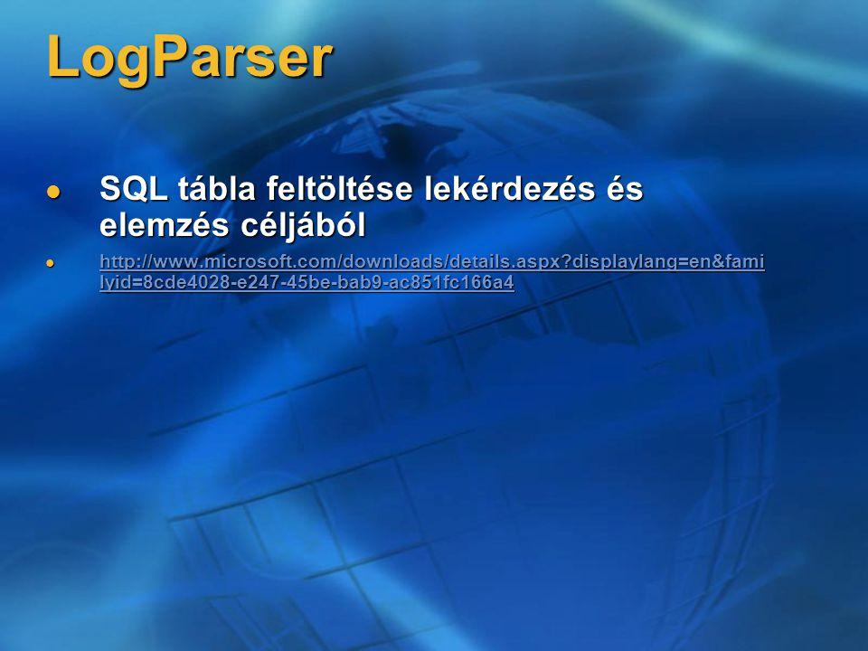 LogParser SQL tábla feltöltése lekérdezés és elemzés céljából SQL tábla feltöltése lekérdezés és elemzés céljából http://www.microsoft.com/downloads/details.aspx?displaylang=en&fami lyid=8cde4028-e247-45be-bab9-ac851fc166a4 http://www.microsoft.com/downloads/details.aspx?displaylang=en&fami lyid=8cde4028-e247-45be-bab9-ac851fc166a4 http://www.microsoft.com/downloads/details.aspx?displaylang=en&fami lyid=8cde4028-e247-45be-bab9-ac851fc166a4 http://www.microsoft.com/downloads/details.aspx?displaylang=en&fami lyid=8cde4028-e247-45be-bab9-ac851fc166a4