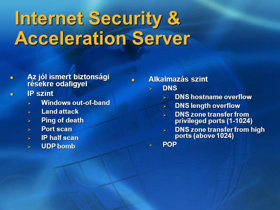 Internet Security & Acceleration Server Az jól ismert biztonsági résekre odafigyel Az jól ismert biztonsági résekre odafigyel IP szint IP szint  Windows out-of-band  Land attack  Ping of death  Port scan  IP half scan  UDP bomb Alkalmazás szint Alkalmazás szint  DNS  DNS hostname overflow  DNS length overflow  DNS zone transfer from privileged ports (1-1024)  DNS zone transfer from high ports (above 1024)  POP
