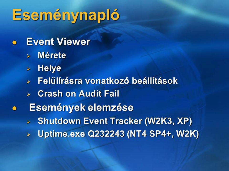 Eseménynapló Event Viewer Event Viewer  Mérete  Helye  Felülírásra vonatkozó beállítások  Crash on Audit Fail Események elemzése Események elemzése  Shutdown Event Tracker (W2K3, XP)  Uptime.exe Q232243 (NT4 SP4+, W2K)