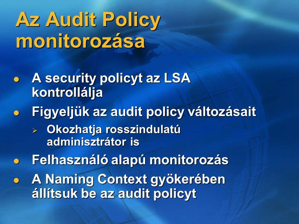 Az Audit Policy monitorozása A security policyt az LSA kontrollálja A security policyt az LSA kontrollálja Figyeljük az audit policy változásait Figyeljük az audit policy változásait  Okozhatja rosszindulatú adminisztrátor is Felhasználó alapú monitorozás Felhasználó alapú monitorozás A Naming Context gyökerében állítsuk be az audit policyt A Naming Context gyökerében állítsuk be az audit policyt