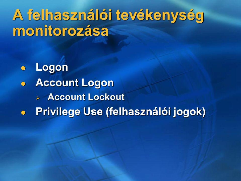 A felhasználói tevékenység monitorozása Logon Logon Account Logon Account Logon  Account Lockout Privilege Use (felhasználói jogok) Privilege Use (felhasználói jogok)