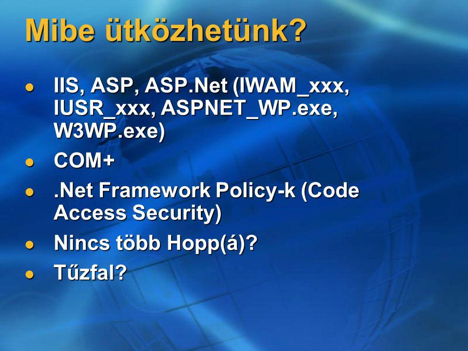 Mibe ütközhetünk? IIS, ASP, ASP.Net (IWAM_xxx, IUSR_xxx, ASPNET_WP.exe, W3WP.exe) IIS, ASP, ASP.Net (IWAM_xxx, IUSR_xxx, ASPNET_WP.exe, W3WP.exe) COM+