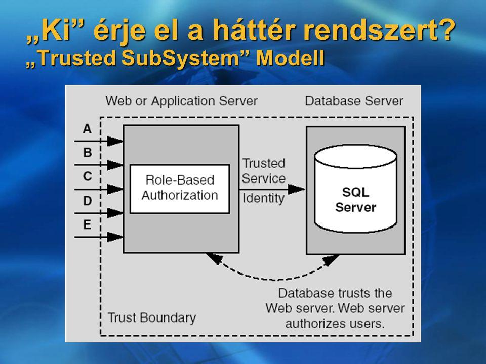 """""""Ki"""" érje el a háttér rendszert? """"Trusted SubSystem"""" Modell"""