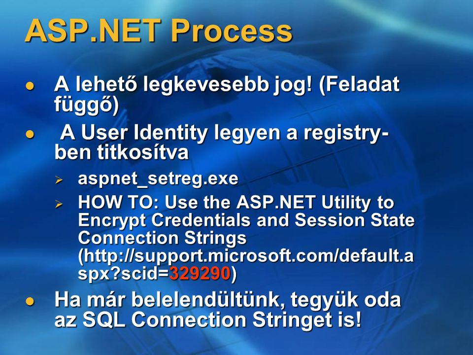 ASP.NET Process A lehető legkevesebb jog! (Feladat függő) A lehető legkevesebb jog! (Feladat függő) A User Identity legyen a registry- ben titkosítva