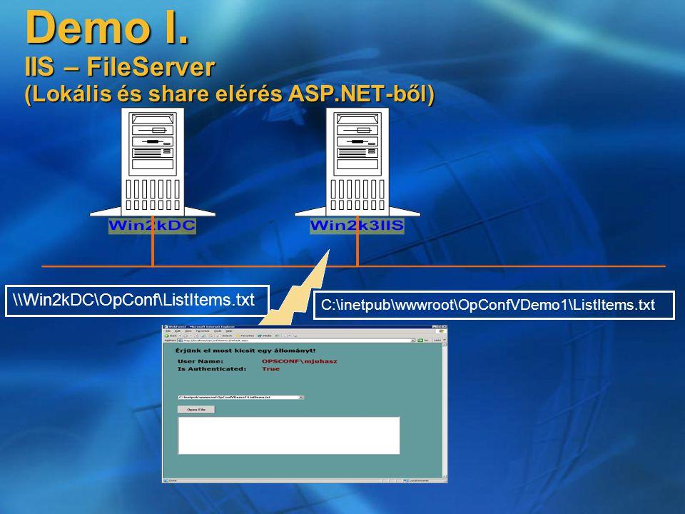 Demo I. IIS – FileServer (Lokális és share elérés ASP.NET-ből) \\Win2kDC\OpConf\ListItems.txt C:\inetpub\wwwroot\OpConfVDemo1\ListItems.txt