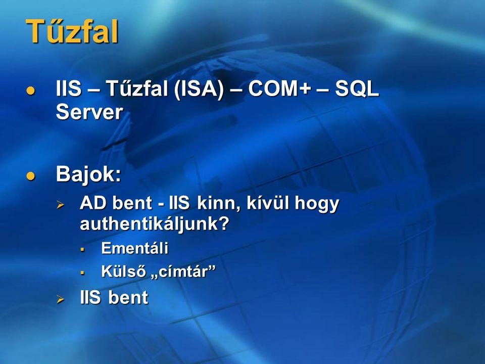 Tűzfal IIS – Tűzfal (ISA) – COM+ – SQL Server IIS – Tűzfal (ISA) – COM+ – SQL Server Bajok: Bajok:  AD bent - IIS kinn, kívül hogy authentikáljunk? 