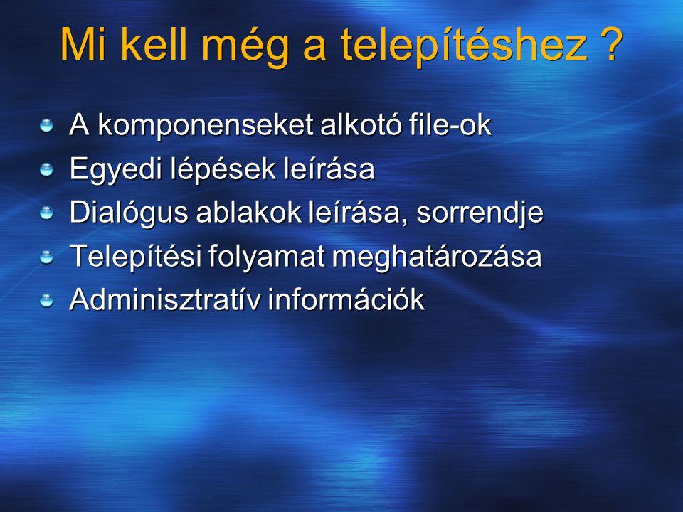 Mi kell még a telepítéshez ? A komponenseket alkotó file-ok Egyedi lépések leírása Dialógus ablakok leírása, sorrendje Telepítési folyamat meghatározá
