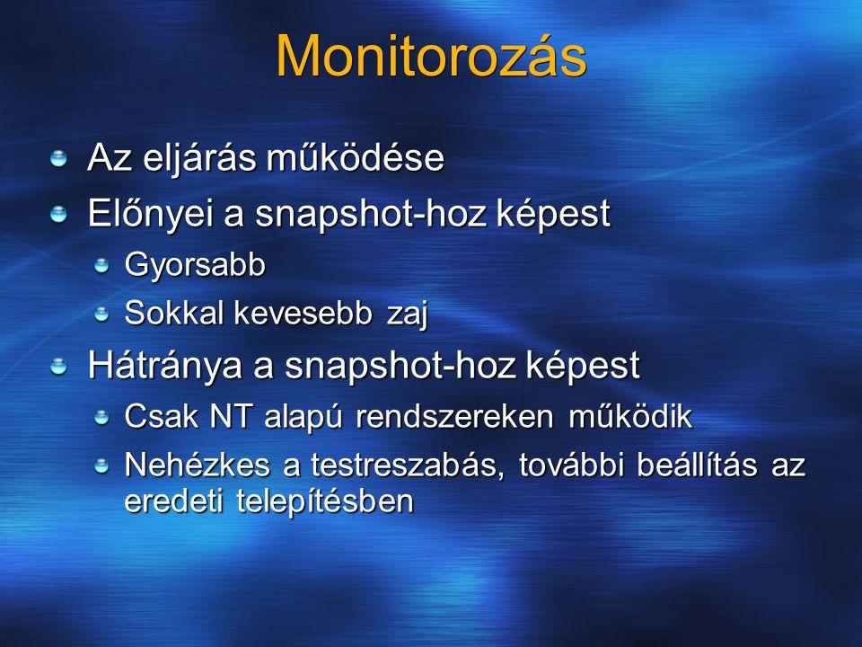 Monitorozás Az eljárás működése Előnyei a snapshot-hoz képest Gyorsabb Sokkal kevesebb zaj Hátránya a snapshot-hoz képest Csak NT alapú rendszereken m