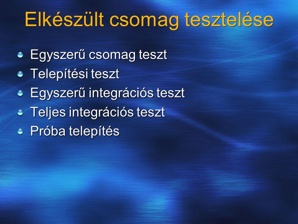 Elkészült csomag tesztelése Egyszerű csomag teszt Telepítési teszt Egyszerű integrációs teszt Teljes integrációs teszt Próba telepítés