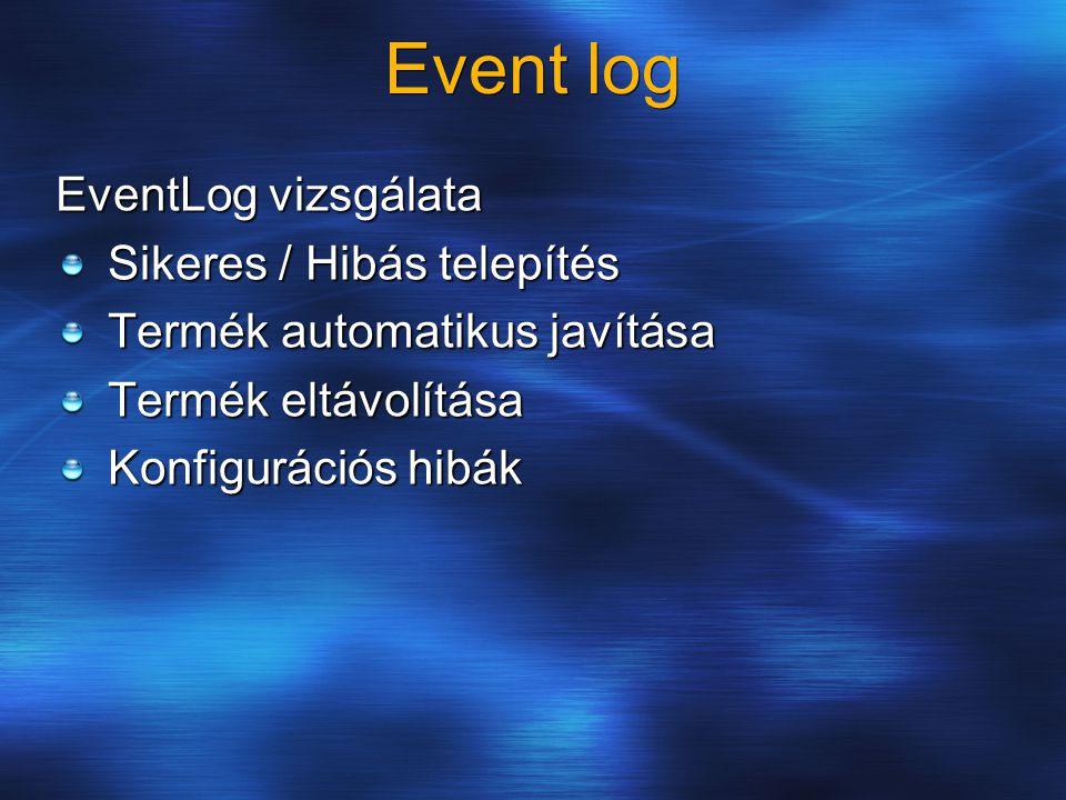 Event log EventLog vizsgálata Sikeres / Hibás telepítés Termék automatikus javítása Termék eltávolítása Konfigurációs hibák