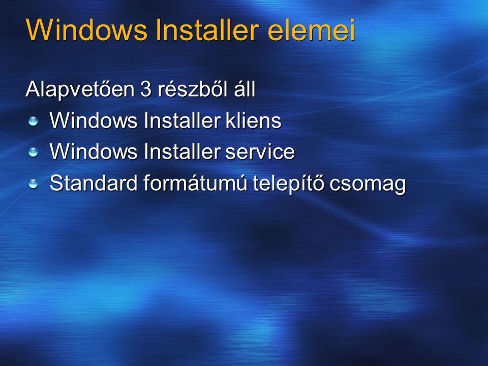 Windows Installer elemei Alapvetően 3 részből áll Windows Installer kliens Windows Installer service Standard formátumú telepítő csomag