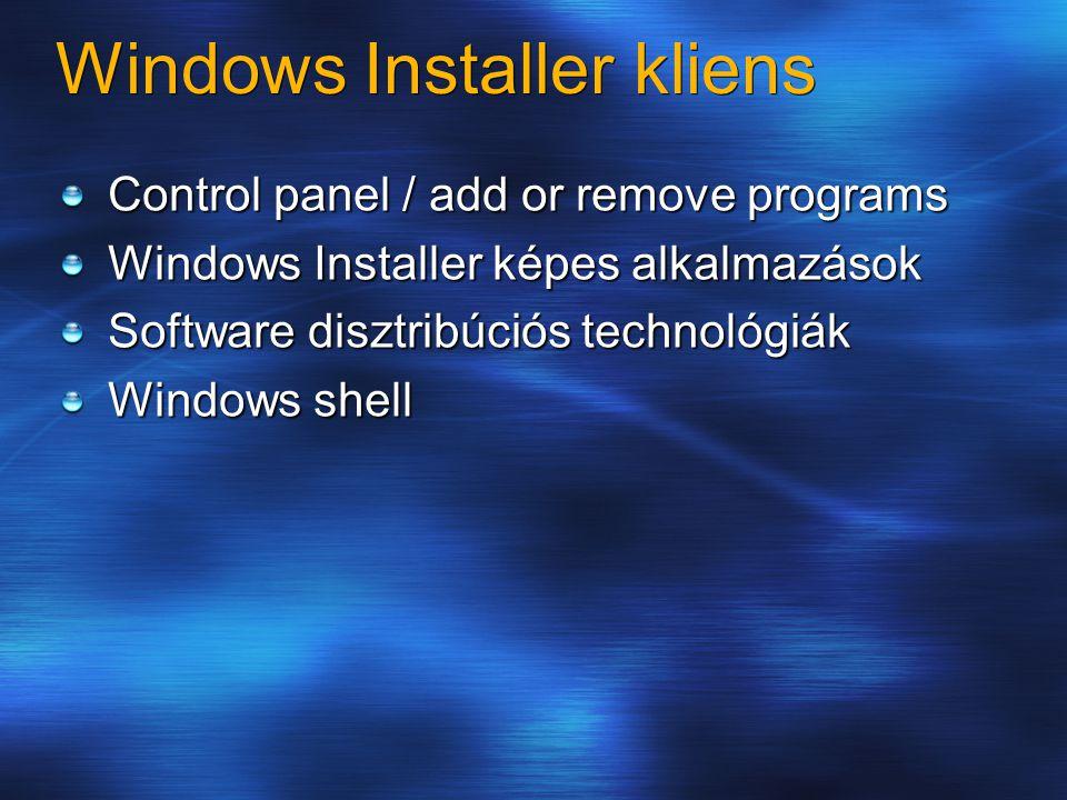 Windows Installer kliens Control panel / add or remove programs Windows Installer képes alkalmazások Software disztribúciós technológiák Windows shell