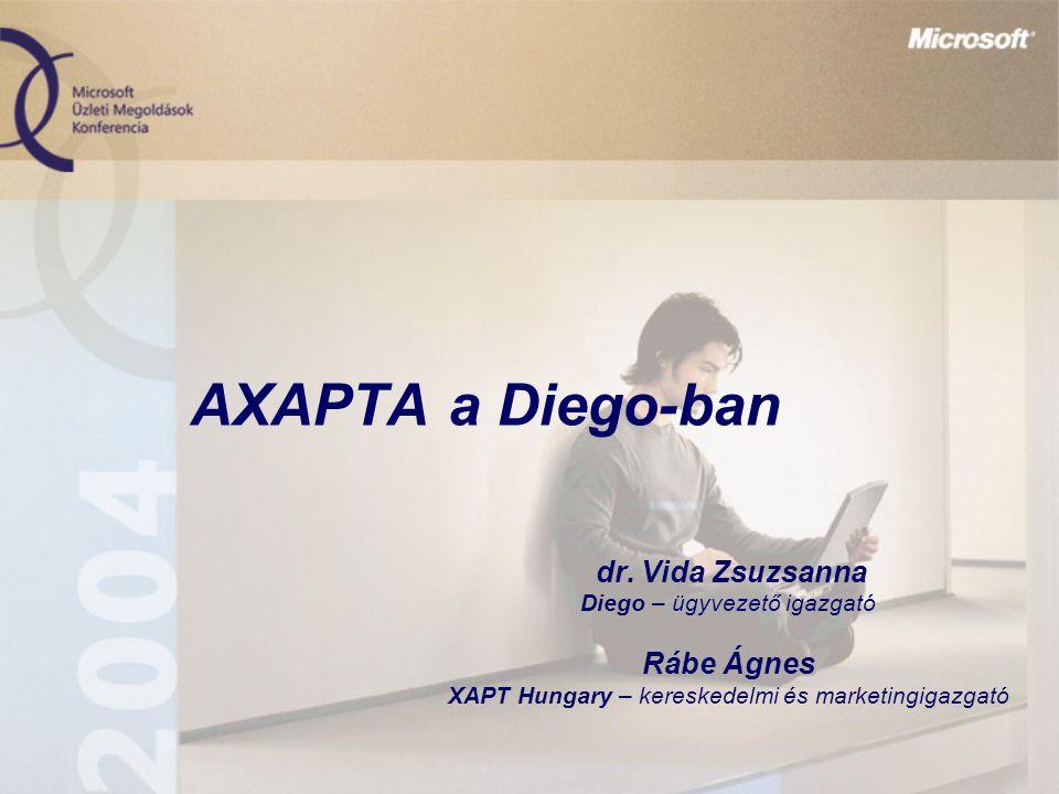AXAPTA a Diego-ban dr. Vida Zsuzsanna Diego – ügyvezető igazgató Rábe Ágnes XAPT Hungary – kereskedelmi és marketingigazgató