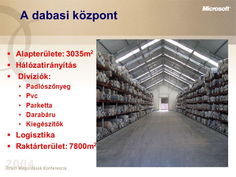 A dabasi központ  Alapterülete: 3035m 2  Hálózatirányítás  Divíziók: Padlószőnyeg Pvc Parketta Darabáru Kiegészítők  Logisztika  Raktárterület: 7