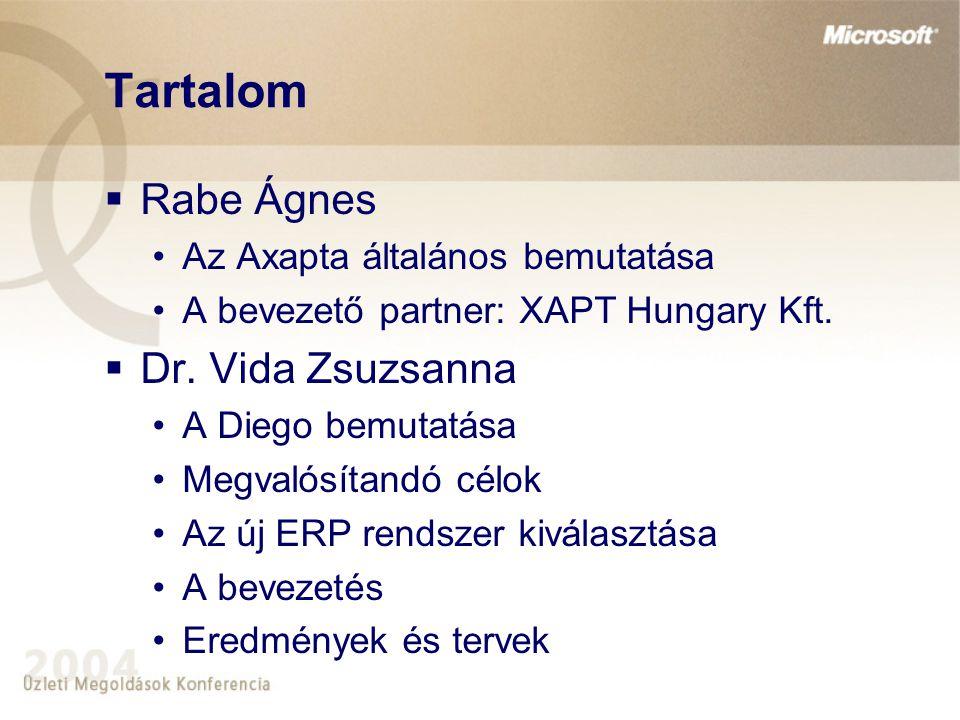 Tartalom  Rabe Ágnes Az Axapta általános bemutatása A bevezető partner: XAPT Hungary Kft.  Dr. Vida Zsuzsanna A Diego bemutatása Megvalósítandó célo