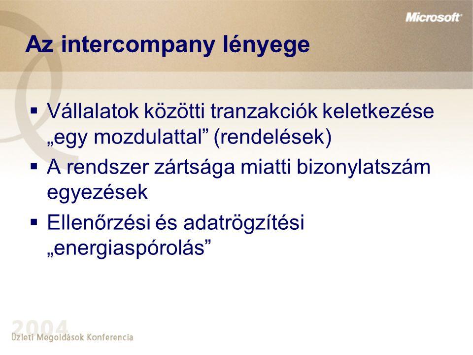 """Az intercompany lényege  Vállalatok közötti tranzakciók keletkezése """"egy mozdulattal"""" (rendelések)  A rendszer zártsága miatti bizonylatszám egyezés"""