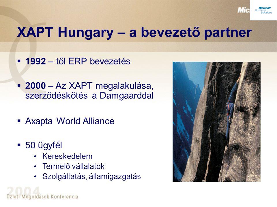 XAPT Hungary – a bevezető partner  12 év ERP tapasztalat 100+ bevezetés  25 fő, 18 konzulens  Axapta bevezetésben piacvezető (90%)  Termékfejlesztés Pénztár modul Banki interfészek Vonalkód integráció Szerviz modul