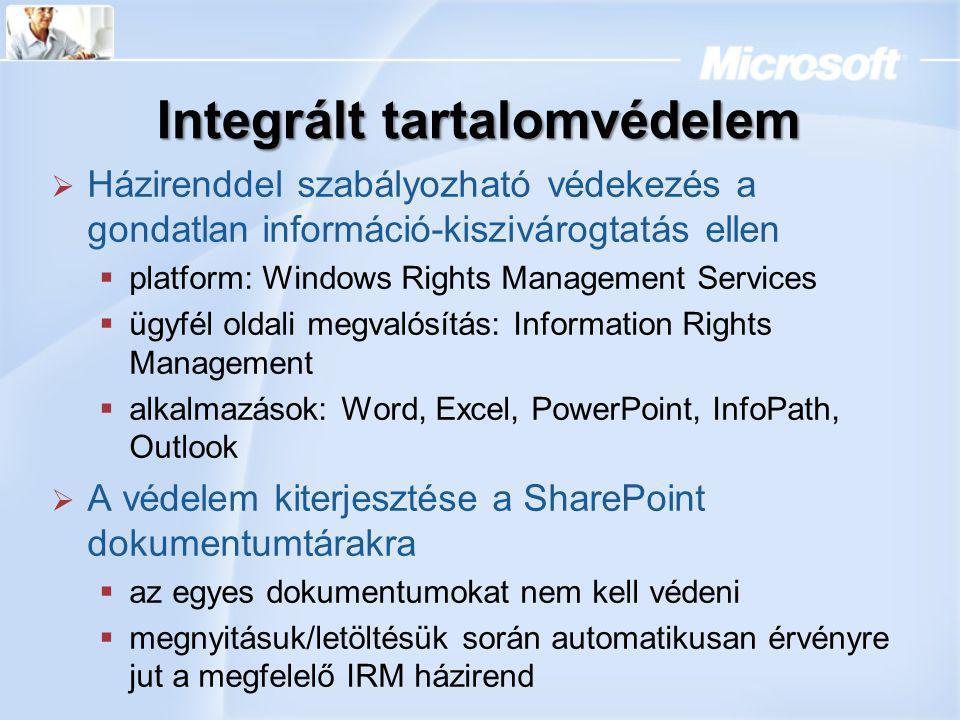 Integrált tartalomvédelem  Házirenddel szabályozható védekezés a gondatlan információ-kiszivárogtatás ellen  platform: Windows Rights Management Ser