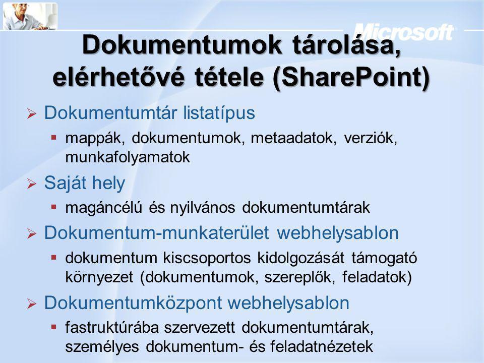 Dokumentumok tárolása, elérhetővé tétele (SharePoint)  Dokumentumtár listatípus  mappák, dokumentumok, metaadatok, verziók, munkafolyamatok  Saját