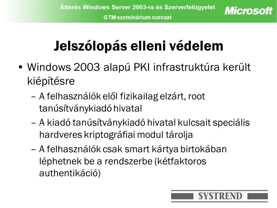 Áttérés Windows Server 2003-ra és Szerverfelügyelet GTM szeminárium sorozat Jelszólopás elleni védelem Windows 2003 alapú PKI infrastruktúra került kiépítésre –A felhasználók elől fizikailag elzárt, root tanúsítványkiadó hivatal –A kiadó tanúsítványkiadó hivatal kulcsait speciális hardveres kriptográfiai modul tárolja –A felhasználók csak smart kártya birtokában léphetnek be a rendszerbe (kétfaktoros authentikáció)