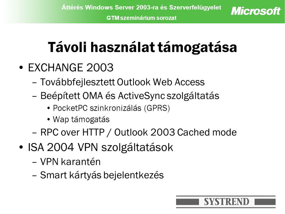 Áttérés Windows Server 2003-ra és Szerverfelügyelet GTM szeminárium sorozat Távoli használat támogatása EXCHANGE 2003 –Továbbfejlesztett Outlook Web A