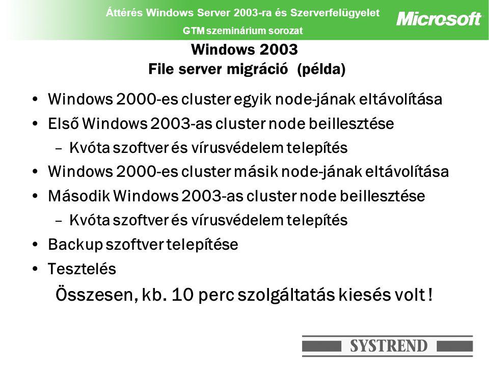 Áttérés Windows Server 2003-ra és Szerverfelügyelet GTM szeminárium sorozat Windows 2003 File server migráció (példa) Windows 2000-es cluster egyik no