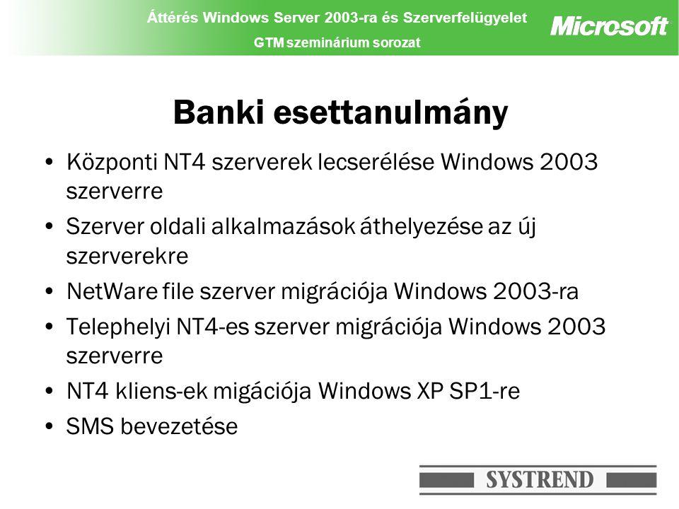 Áttérés Windows Server 2003-ra és Szerverfelügyelet GTM szeminárium sorozat Banki esettanulmány Központi NT4 szerverek lecserélése Windows 2003 szerverre Szerver oldali alkalmazások áthelyezése az új szerverekre NetWare file szerver migrációja Windows 2003-ra Telephelyi NT4-es szerver migrációja Windows 2003 szerverre NT4 kliens-ek migációja Windows XP SP1-re SMS bevezetése