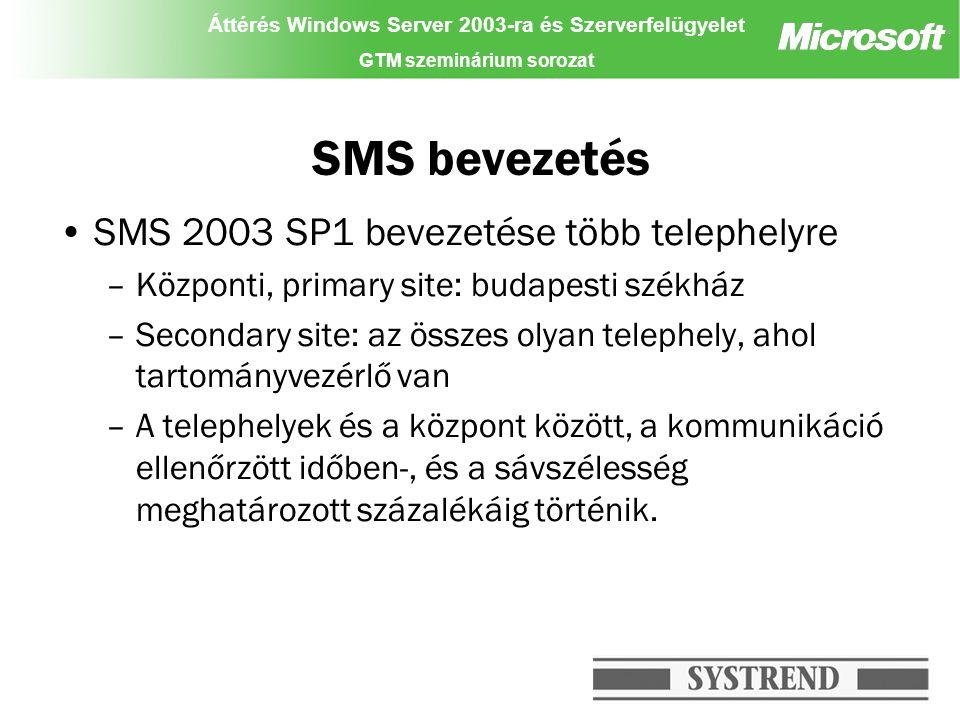 Áttérés Windows Server 2003-ra és Szerverfelügyelet GTM szeminárium sorozat SMS bevezetés SMS 2003 SP1 bevezetése több telephelyre –Központi, primary site: budapesti székház –Secondary site: az összes olyan telephely, ahol tartományvezérlő van –A telephelyek és a központ között, a kommunikáció ellenőrzött időben-, és a sávszélesség meghatározott százalékáig történik.