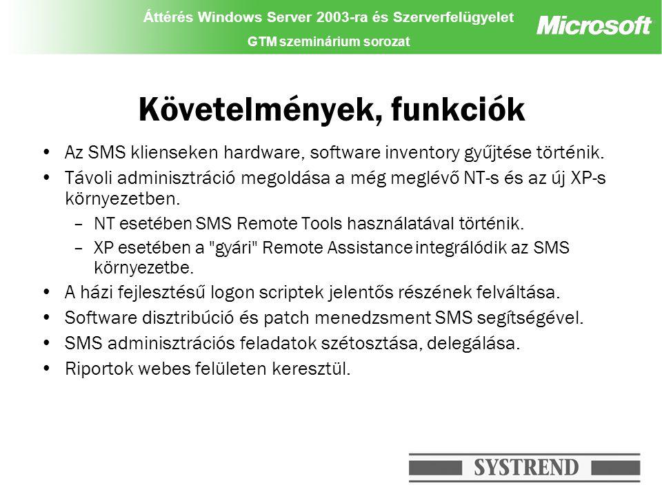 Áttérés Windows Server 2003-ra és Szerverfelügyelet GTM szeminárium sorozat Követelmények, funkciók Az SMS klienseken hardware, software inventory gyűjtése történik.
